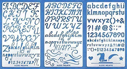 Aleks Melnyk #34 Metal Journal Stencils/Alphabet Letter Number, ABC/Stainless Steel Stencils Kit 3 PCS/Templates Tool for Wood Burning, Pyrography and ()