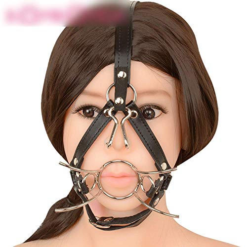 Price comparison product image IFVJZ tshirt Mouth Hook Spider Shape Metal Ring Mouth Gag Ball Gag Nose Hook SM Tool Sexcc Slave Mouth Plug Full Head Harness Sexcc Toy