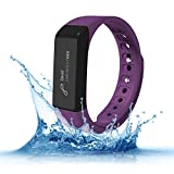 Fitness Trackers - Teslasz I5 plus IP65 Water-resistant Pedometer Bluetooth 4.0 Sleep Monitor Activity Tracker for Android and IOS Smart Phone (Purple)