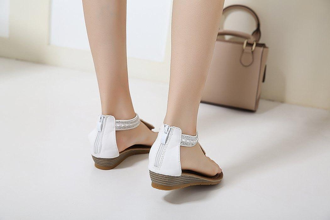 f2fd68dd Ruiren Sandalias Romanas de la Cuña de Las Mujeres, Zapatos del Rhinestone  del Verano para Las Señoras: Amazon.es: Zapatos y complementos