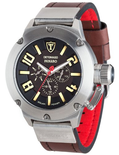 DETOMASO Men's DT1054-A PANARO XXL Solar Trend mehrfarbig/Braun Analog Display Japanese Quartz Brown Watch