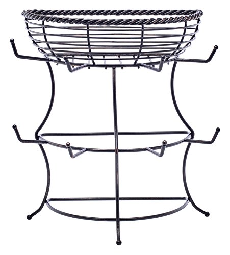 Gourmet Basics by Mikasa Metal Rope Flat-Back Mug Tree with Basket, Antique Black