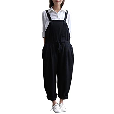 6e6b47de005 Amazon.com  Hengshikeji Womens Casual Oversized Dungaree Romper Long Pants  Sleeveless Playsuit Jumpers Teen Girls for Summer  Clothing