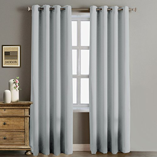 RHF Blackout Thermal Insulated Curtain-white blackout curtains-Grommet curtains,blackout curtains for bedroom/living room(Greyish White-52 by 84 Inches)