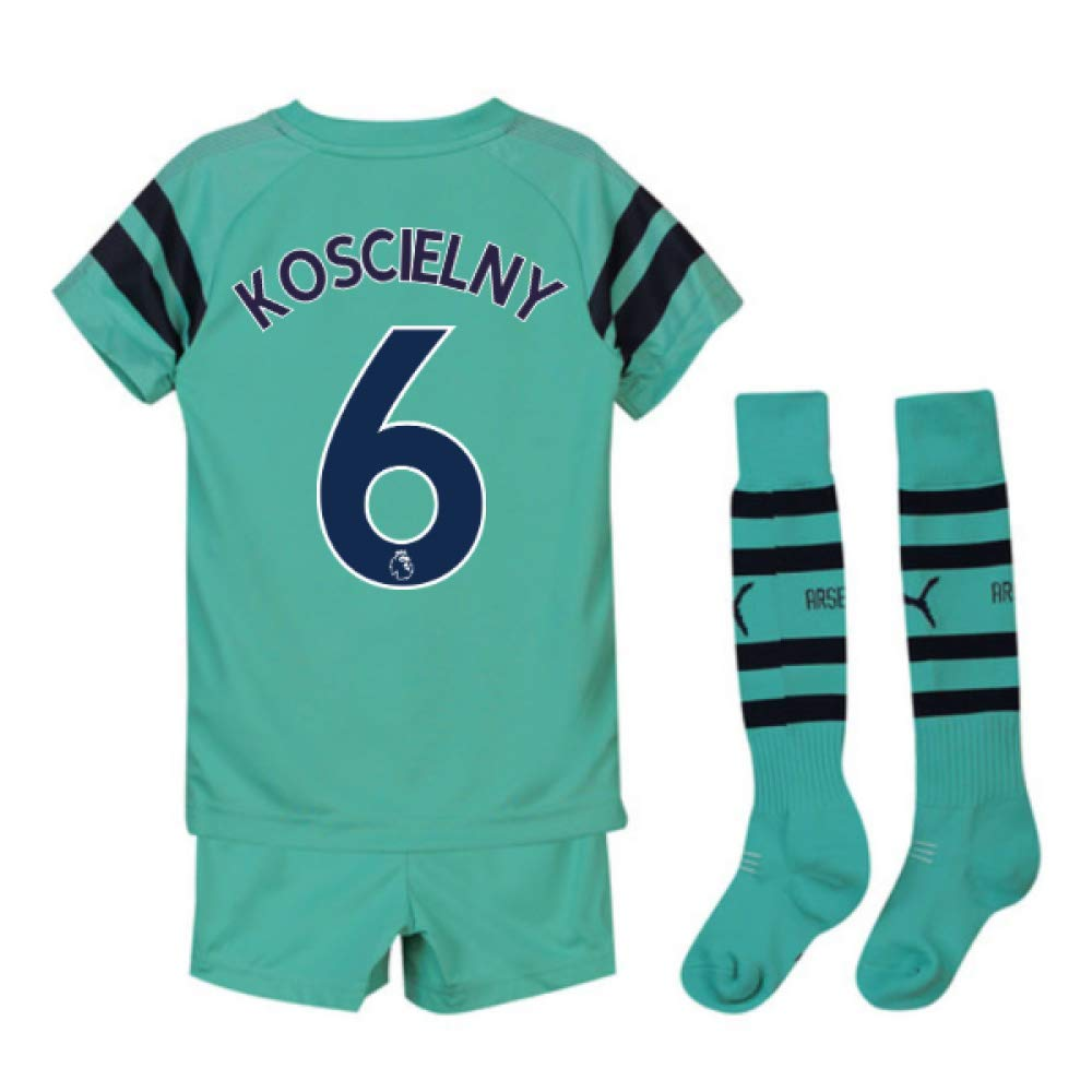 UKSoccershop 2018-2019 Arsenal Third Little Boys Mini Kit (Laurent Koscielny 6)