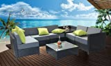 MCombo 8 Piece Luxury Black Wicker Patio Sectional Indoor Outdoor Sofa Furniture Set with Grey Cushioned Seat