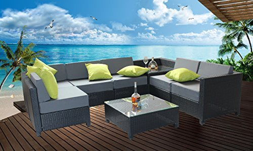 MCombo 8 Piece Luxury Black Wicker Patio Sectional Indoor Outdoor Sofa Furniture Set with Grey Cushioned Seat (Indoor Wicker Sectional)