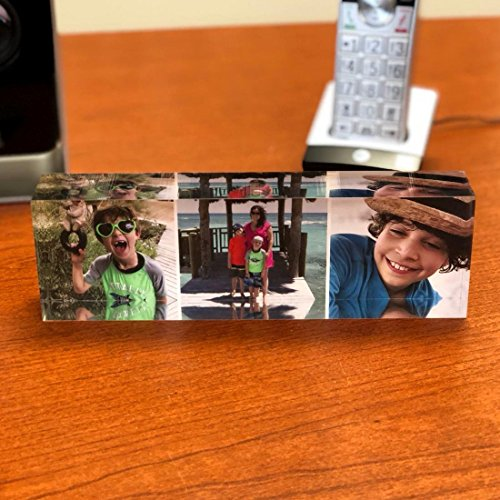 Personalized Photo Block - Custom 3 Photos Collage on Premium Clear Acrylic Glass Bar, Exclusive 3D Effect, For Office Desk or Home Unique - Glasses Names Bar