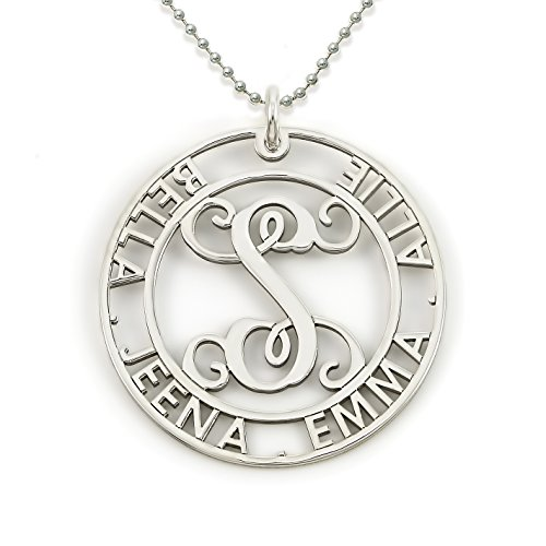 Round Cut Sterling Silver Script Initial and Name Pendant Necklace. Personalized Center Monogram and Names. Choice of Chains. Sterling Silver, 14k Gold Plate or Rose Gold Plate over Sterling Silver