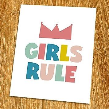 Girls Rule Print (Unframed) Playroom Wall Art Nursery Wall Decor Kid Room  Decor Modern
