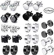 12 Pairs Stainless Steel Stud Earrings Hoops Ear Plugs Round Ear Piercing Screw Studs Earrings Barbell Huggie