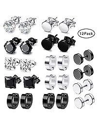 12 Pairs Stainless Steel Stud Earrings Hoops Ear Plugs Round Ear Piercing Screw Studs Earrings Barbell Huggie CZ Stud Earrings Set for Men Women