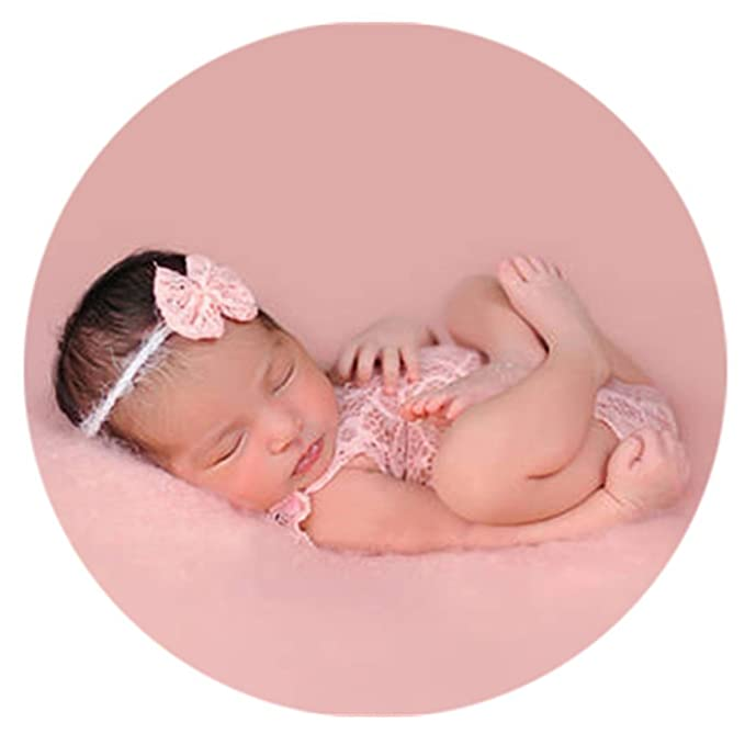 1bc6a7d21a8 Baby Photography Props Newborn Girl Photo Shoot Outfits Infant Costume Lace  Headdress Rompers (Pink)