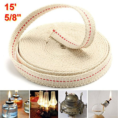 CoCocina 5/8 Inch Flat Cotton Wick 15 Foot Oil Lamps and Lanterns Cotton Wick 4.5M Length