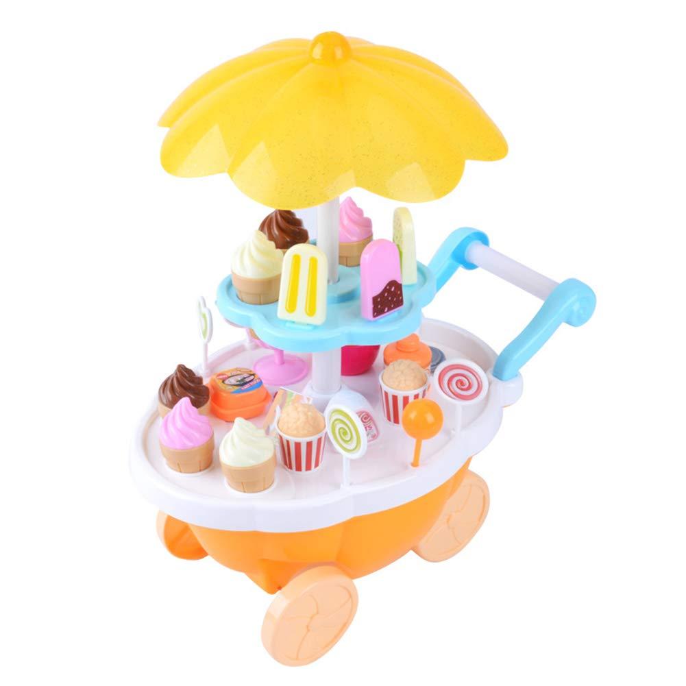 Hobabld Helado Juguete Juegos Niños Casa con Música Ligera Mini Supermercado Caramelo Barco Helado Barbacoa Barbacoa Cochecito,Yellow