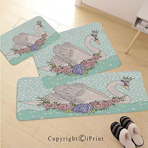 Queen 3D Non-Slip Kitchen Mat Runner Rug Set,3pc Kitchen Rug Set,Cute Cartoon Swan on Water Crown Flowers Dreamy Fairytale Kids Playroom,for Entryway Kitchen and Bedroom,Mint Green Beige Coral ()