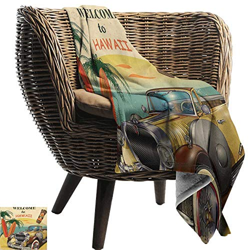 BelleAckerman Wearable Blanket,Retro,Welcome to Hawaii American Pop Art Print with Aged Car Palms Tribal Mask and Surfboards,Multi,300GSM, Super Soft and Warm, Durable 60