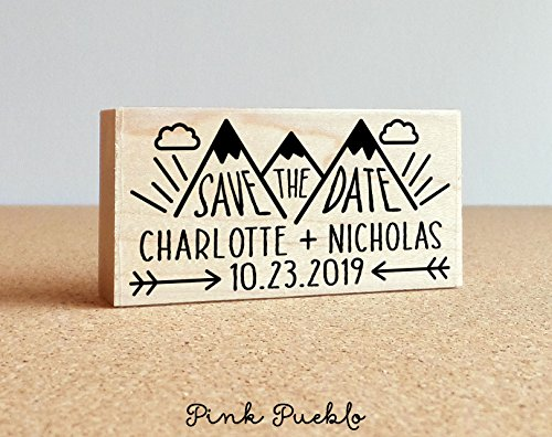 Save the Date Stamp with Mountain, Wedding Stamp, Destination Wedding Save the Date Stamp -