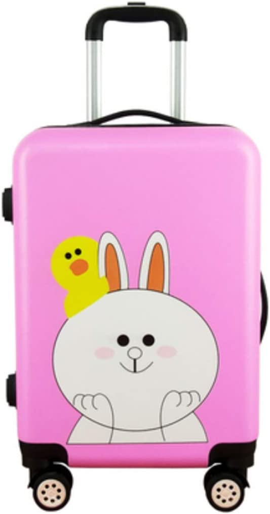 Color : Pink Runtongshanghang Trend Cartoon Password Box Suitcase Suitcase Korean Version of Male and Female Students Graffiti Trolley Case Universal Wheel 24 Inch