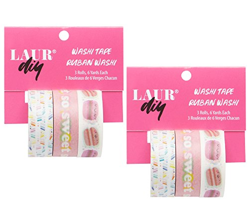 LaurDIY Kawaii Collection Washi Tape Set for Decorating School Supplies, 6 Rolls and 36 Total Yards Total