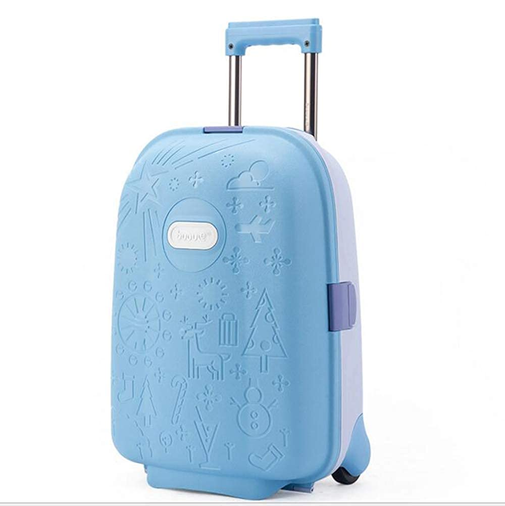子供用スーツケース、17インチ学生用スーツケースベビートロリーケース、耐摩耗性および耐圧性、PP素材 B07RTQBK35 ブルー