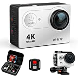 FITFORT H9R-01 Action Camera 4K Wi-Fi Ultra HD Waterproof Sport Camera 16 MP 170 Degree 2 Inch LCD Screen Remote Control 2Pcs Batteries 19 Accessories, Silver