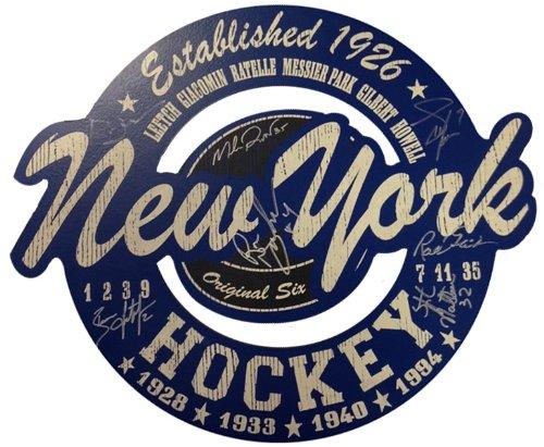 - New York Rangers JSA 7 Player Signed Wood Cut Out Sign including Leetch, Richter, Graves, Gilbert, Matteau & More -15x18