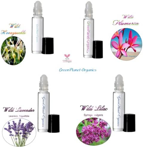 Set of 4 .33oz Bottles: The Wild Bunch Floral Perfume Oil Collection (Wild Plumeria, Wild Lilac, Wild Lavender & Wild Honeysuckle) Alcohol Free & Vegan. Proudly Blended in USA!