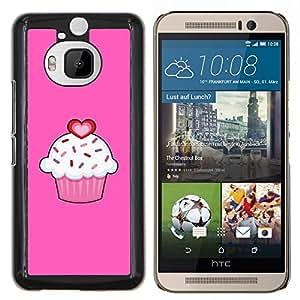 Amor rosa de San Valentín dulce Pastelería- Metal de aluminio y de plástico duro Caja del teléfono - Negro - HTC One M9+ / M9 Plus (Not M9)