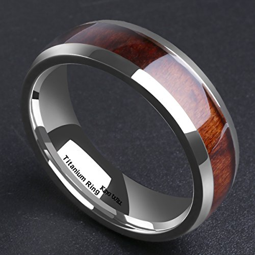 King Will Nature 7MM Titanium Ring Koa Wood Inlay Comfort Fit Wedding Band for Men Women 12.5