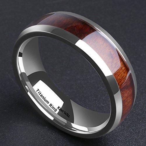 King Will Nature 7MM Titanium Ring Koa Wood Inlay Comfort Fit Wedding Band for Men Women 12.5
