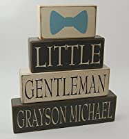 Little Gentleman - Personalized Name - Primitive Country Wood Stacking Sign Blocks - Nursery Decor- Birthday Baby Shower Centerpiece-Bow Tie