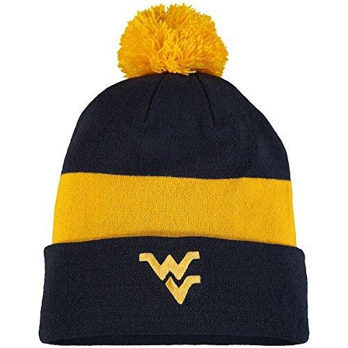 NIKE West Virginia Mountaineers Sideline Logo Cuffed Pom Knit Beanie Hat (One Size)