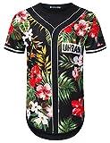 URBANTOPS Mens Hipster Hip Hop Forest Floral Jersey Longline T-Shirt Black, M