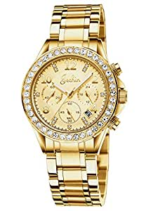 Dyshuai Women's Luxury Chronograph Multifunction Numerals Dial Diamond Quartz Stainless Steel Gold Watch(Gold)