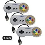 Exlene 3 Pack Retro USB SNES Super Nintendo Game Controller Gamepad Joystick for Windows PC/MAC