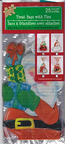 Christmas House Treat Bags with Ties (25 Count Pack) - Treat Santa Bags