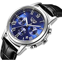 Watch Men Leather Strap Watches Men's Chronograph Waterproof Sport Date Quartz Wrist watch blue