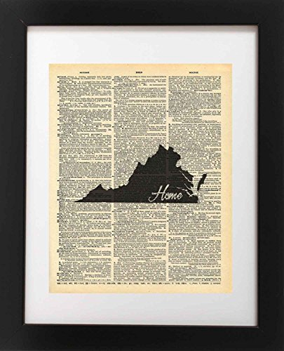 Virginia State Vintage Map Vintage Dictionary Print 8x10 inch Home Vintage Art Abstract Prints Wall Art for Home Decor Wall Decorations For Living Room Bedroom Office Ready-to-Frame Home