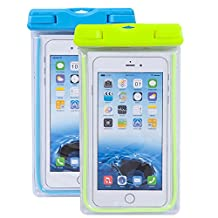 """Universal Waterproof Case, 2-Pack Transparent Luminous Watertight Bag, Cell Phone Protection Dry Pouch For Apple iPhone 6/6S Plus/7/5S/Samsung Galaxy S7/S6 Note 5/4/HTC Sony LG Nokia 6.0"""" Diagonal"""