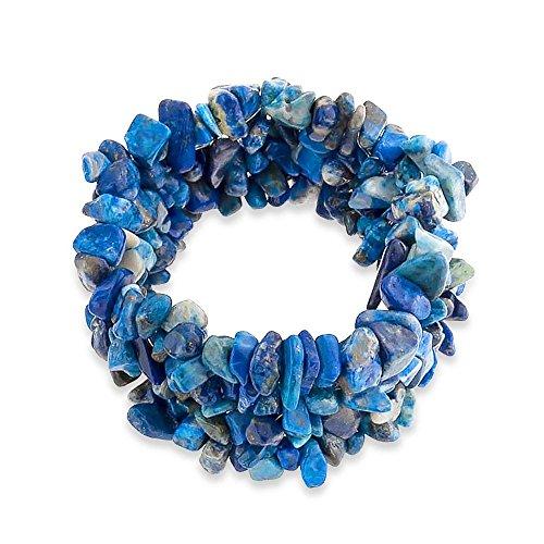 Blue Chip Lazuli Lapis (Bling Jewelry Blue Lapis Lazuli Chip Stone Wide Chunky Cluster Multi Strand Stretch Bracelet for Women)