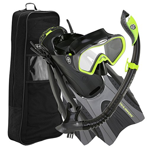 U.S. Divers Pro LX+ Snorkeling Set with Starbuck Iii LX Purge Mask, Neon Black, Large/X-Large