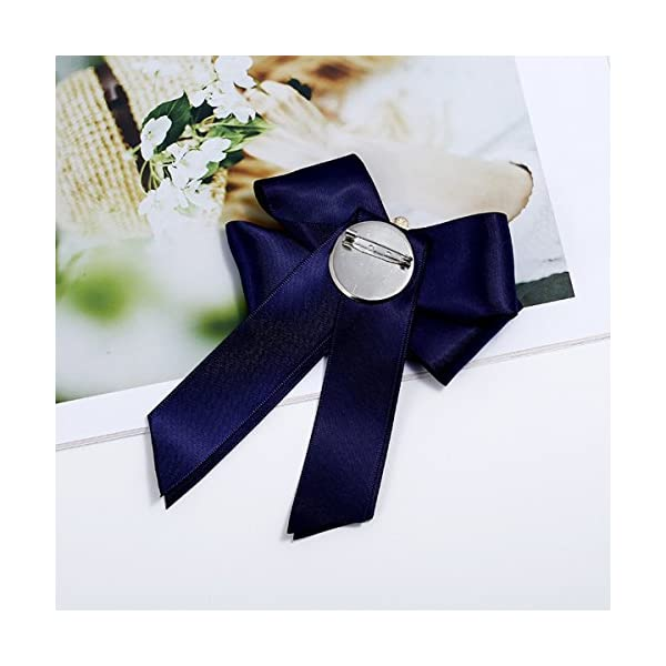 ZOONAI Women Ribbon Bowknot Brooch Pin Rhinestone Pre Neck Tie Wedding Party Bow Tie