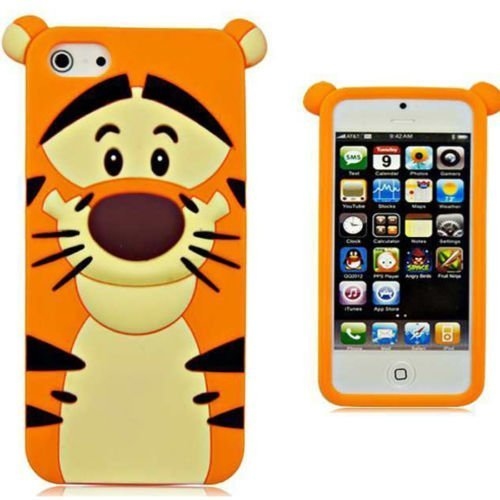 enix-Color 3D Cute Cartoon Monster Blue Giant Horn University Style Silicone Rubber Case for iPhone 6 6s 4.7 Inch (Tiger) (Style Silicone Rubber Case)