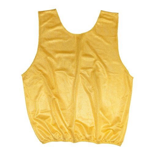 TopTie Nylon Mesh Training Vests, Events Bibs for Football/Soccer Team, with Cardholder Yellow-Adult - Mesh Training Bibs