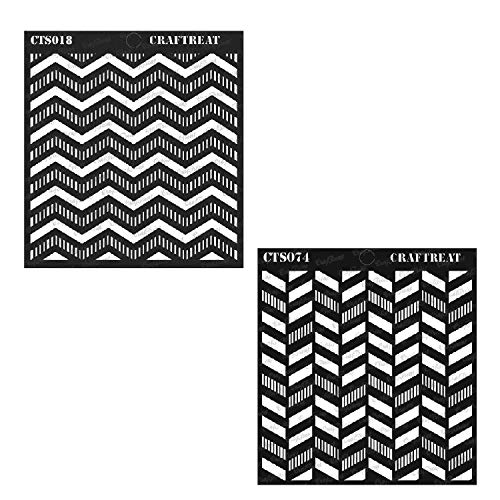 Craftreat Stencil - Striped Chevron and Striped Herringbone (2 pcs) - Reusable Painting Template for Home Decor, Crafting, DIY Albums, Scrapbook and Printing on Paper, Wall, Fabric, Wood 6x6 inches (For Stencil Furniture Chevron)