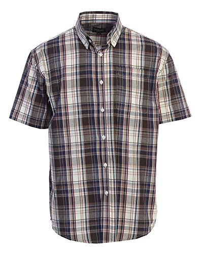 Gioberti Men's Plaid Short Sleeve Shirt, Burgundy/Navy/Sky Blue Line, 3X Large
