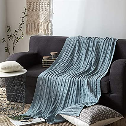 amazon com nuvole luxury knitted throw blanket 100 cotton cable rh amazon com decorative throw blankets for sofa decorative throw blankets for sofa
