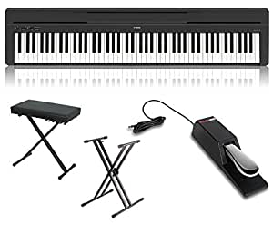 yamaha p45b 88 key graded hammer standard contemporary digital piano in black with x. Black Bedroom Furniture Sets. Home Design Ideas