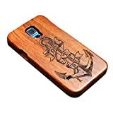 """Happy Hours - Galaxy S5 5.1"""" Engraved Wooden Case / 2-in-1 Shockproof Drop Protection Cover Shell with Velvet Inside for Samsung(Lost Anchors)"""